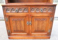 Old Charm Tall Oak Open Bookcase Cabinet